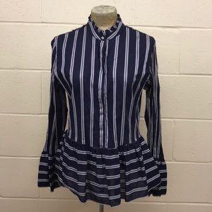 Le Sarte  Pettegole  striped blouse/ruffle detail
